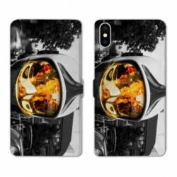 RV Housse cuir portefeuille Iphone x pompier police