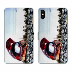 RV Housse cuir portefeuille Iphone x Moto