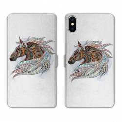 RV Housse cuir portefeuille Iphone x Animaux Ethniques