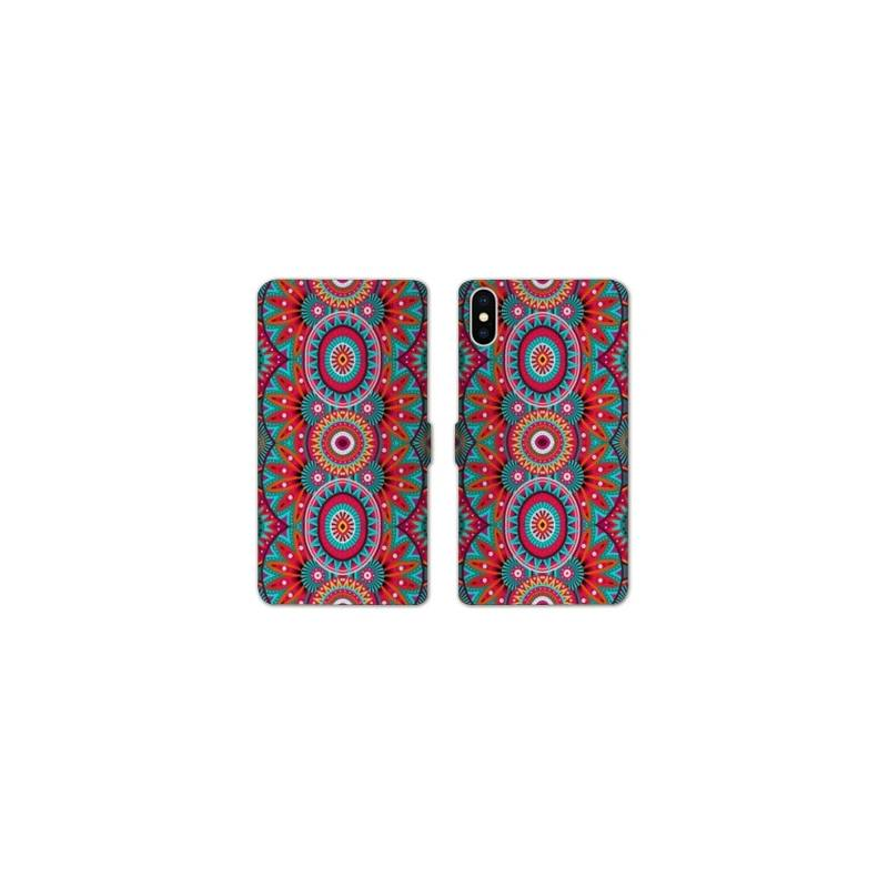 Rv housse cuir portefeuille iphone x etnic abstrait for Housse iphone x