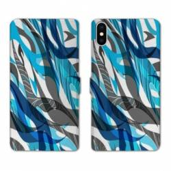 RV Housse cuir portefeuille Iphone x Etnic abstrait