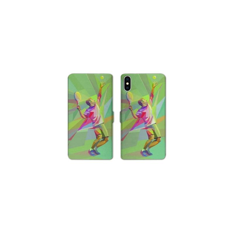 Rv housse cuir portefeuille iphone x tennis for Housse iphone x