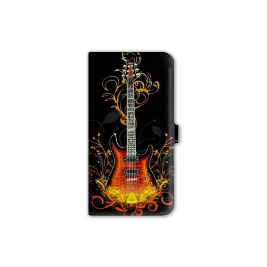Housse cuir portefeuille pour iphone 6 / 6s guitare