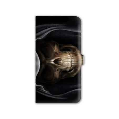 Housse portefeuille cuir Iphone 6 plus + tete de mort