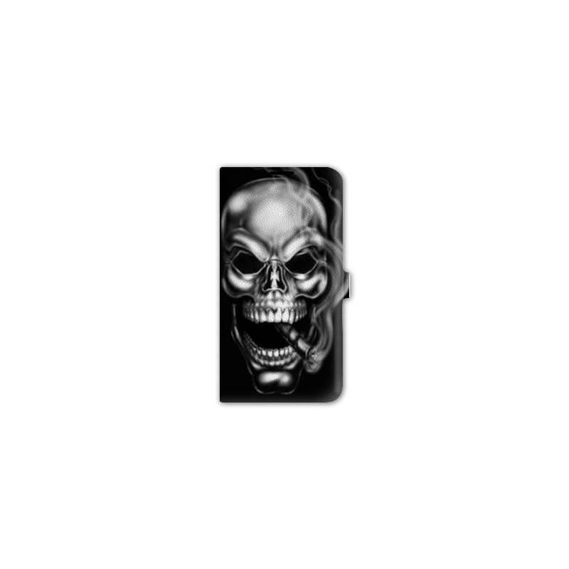 housse cuir portefeuille pour iphone 6 plus / 6s plus tete de mort