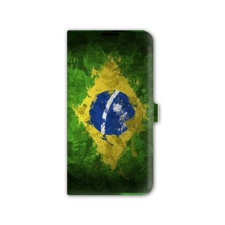 Housse portefeuille cuir Iphone 6 plus + Bresil