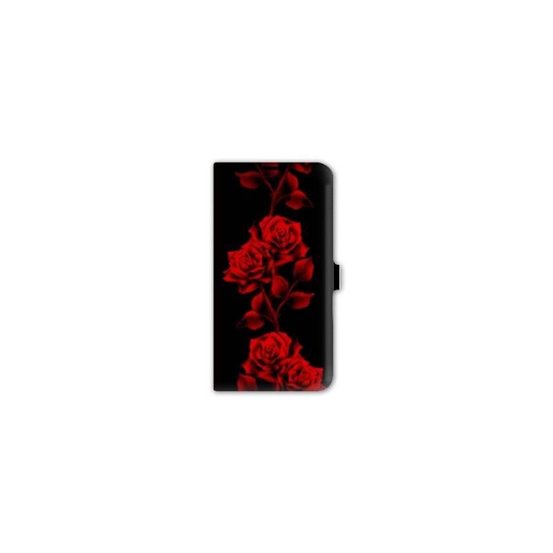 Housse portefeuille cuir iphone 6 plus fleurs for Housse cuir iphone 6
