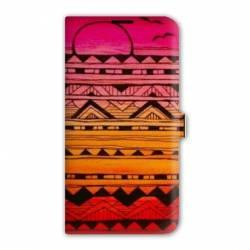 Housse portefeuille cuir Iphone 6 plus + motifs Aztec azteque