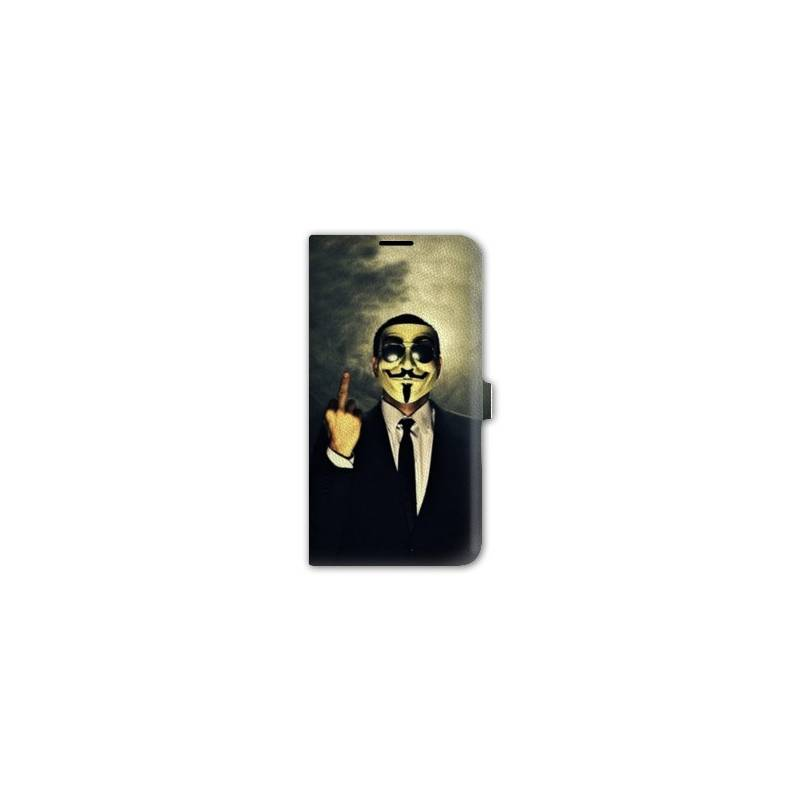 Housse portefeuille cuir Iphone 6 plus + Anonymous