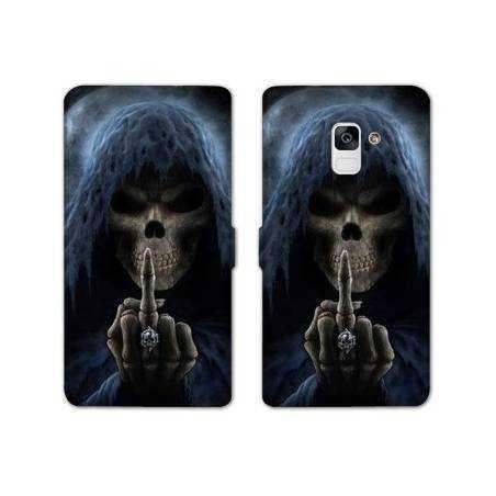 Housse cuir portefeuille Samsung Galaxy S9 tete de mort