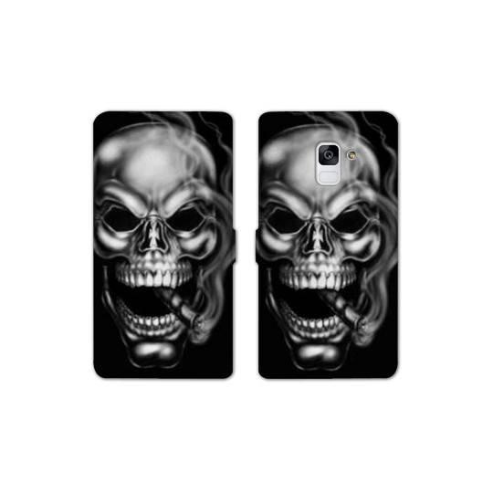 RV Housse cuir portefeuille pour Samsung Galaxy S9 tete de mort