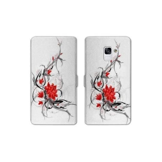 RV Housse cuir portefeuille pour Samsung Galaxy S9 fleurs
