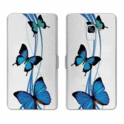 Housse cuir portefeuille Samsung Galaxy S9 papillons
