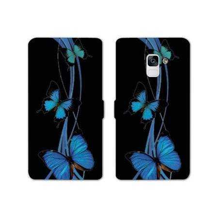 Housse cuir portefeuille Samsung Galaxy S9 papillons