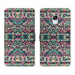 Housse cuir portefeuille Samsung Galaxy S9 motifs Aztec azteque