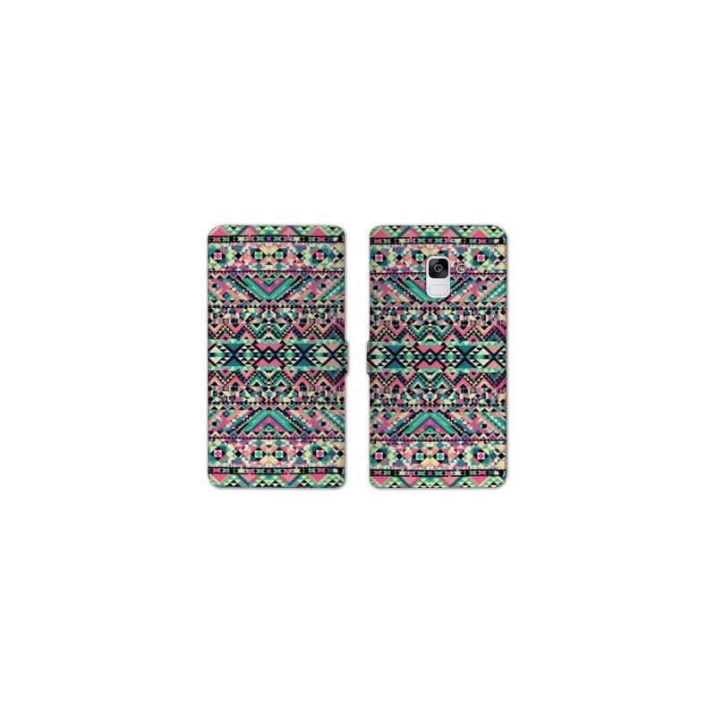 RV Housse cuir portefeuille pour Samsung Galaxy S9 motifs Aztec azteque