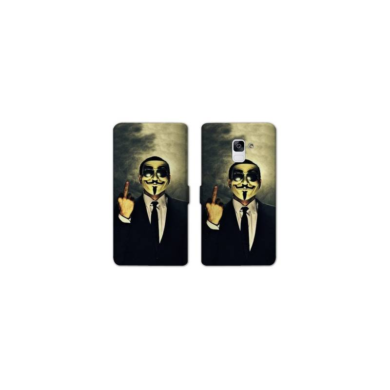 Housse cuir portefeuille Samsung Galaxy S9 Anonymous