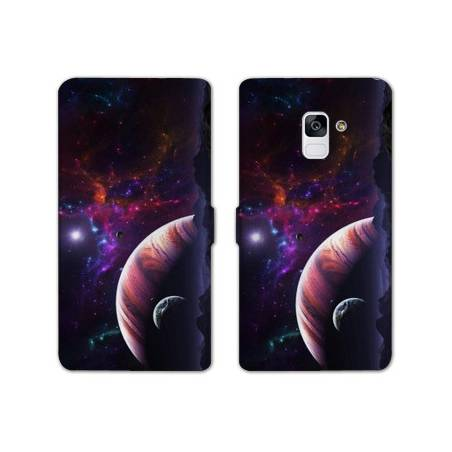 Housse cuir portefeuille Samsung Galaxy S9 Espace Univers Galaxie