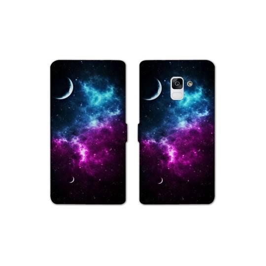 RV Housse cuir portefeuille pour Samsung Galaxy S9 Espace Univers Galaxie