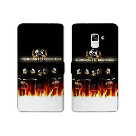 Housse cuir portefeuille Samsung Galaxy S9 pompier police
