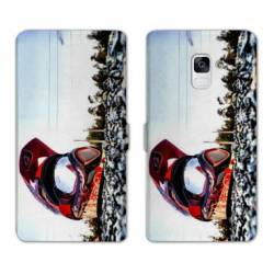 Housse cuir portefeuille Samsung Galaxy S9 Moto