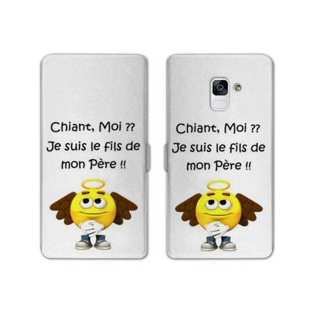 Housse cuir portefeuille Samsung Galaxy S9 Humour