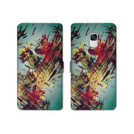 Housse cuir portefeuille Samsung Galaxy S9 Grunge