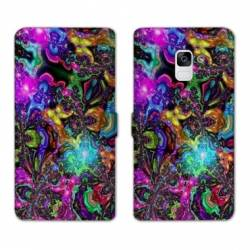 Housse cuir portefeuille Samsung Galaxy S9 Psychedelic