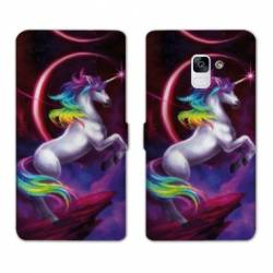 Housse cuir portefeuille Samsung Galaxy S9 Licorne