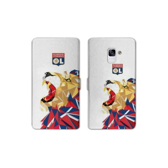 RV Housse cuir portefeuille Samsung Galaxy S9 License Olympique Lyonnais OL - lion color