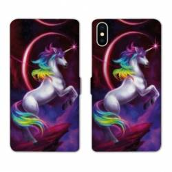 RV Housse cuir portefeuille Iphone X Licorne