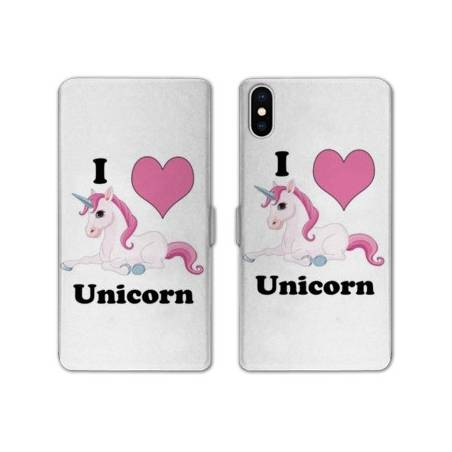 Rv housse cuir portefeuille iphone x licorne for Interieur iphone x