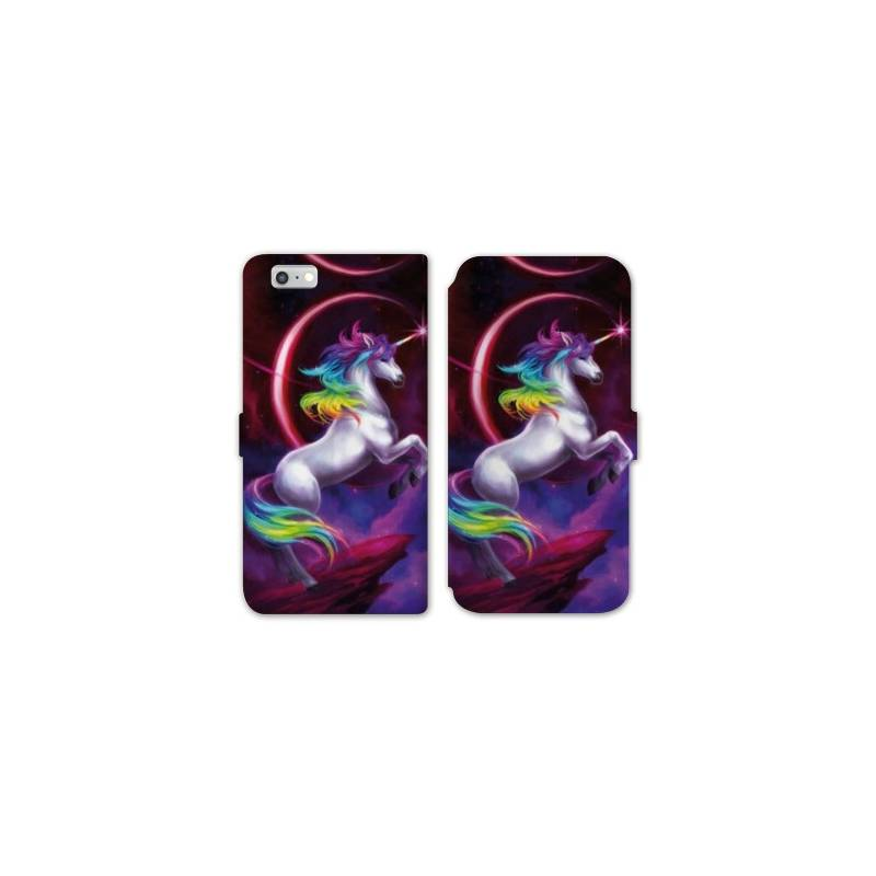 RV Housse cuir portefeuille Iphone 8 Licorne