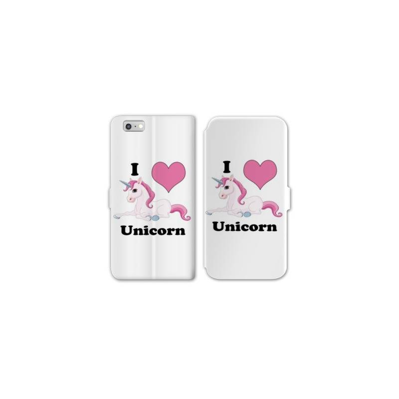 Rv housse cuir portefeuille iphone 7 licorne for Housse iphone 7 cuir