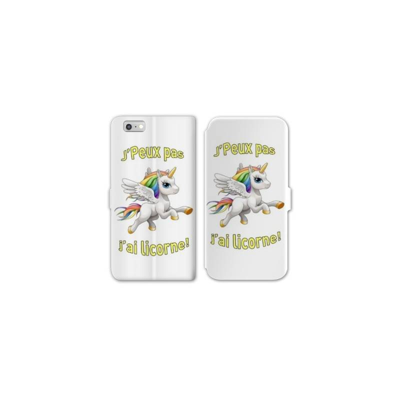 Rv housse cuir portefeuille iphone 6 6s licorne for Housse cuir iphone 6
