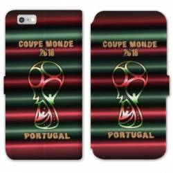 RV Housse cuir portefeuille Iphone 7 coupe monde football 2018