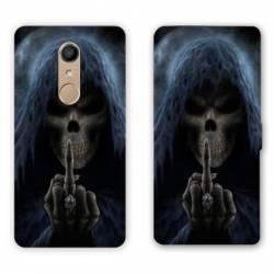 RV Housse cuir portefeuille Nokia 8 tete de mort