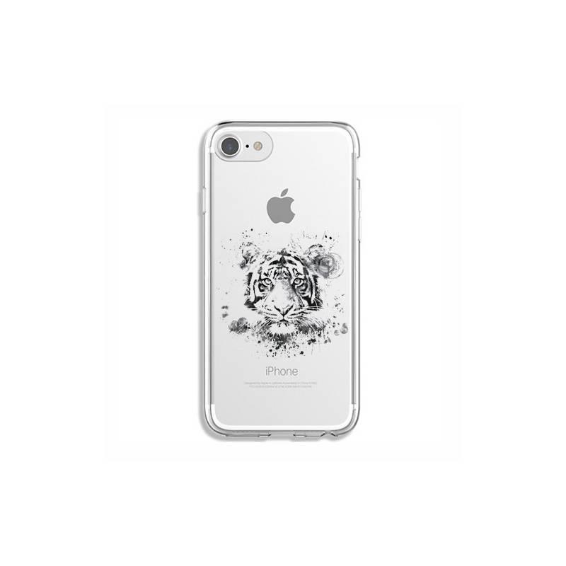 coque transparente pour iphone 7 8 tigre