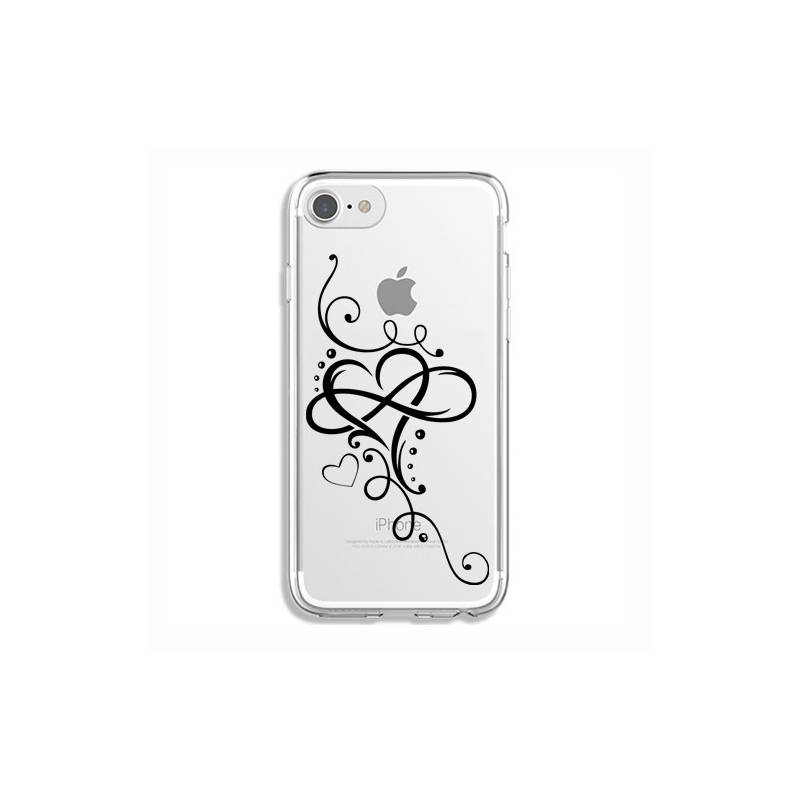Coque transparente Iphone 7 / 8 feminine cœur infini