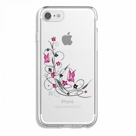 Coque transparente Iphone 7 / 8 feminine fleur papillon