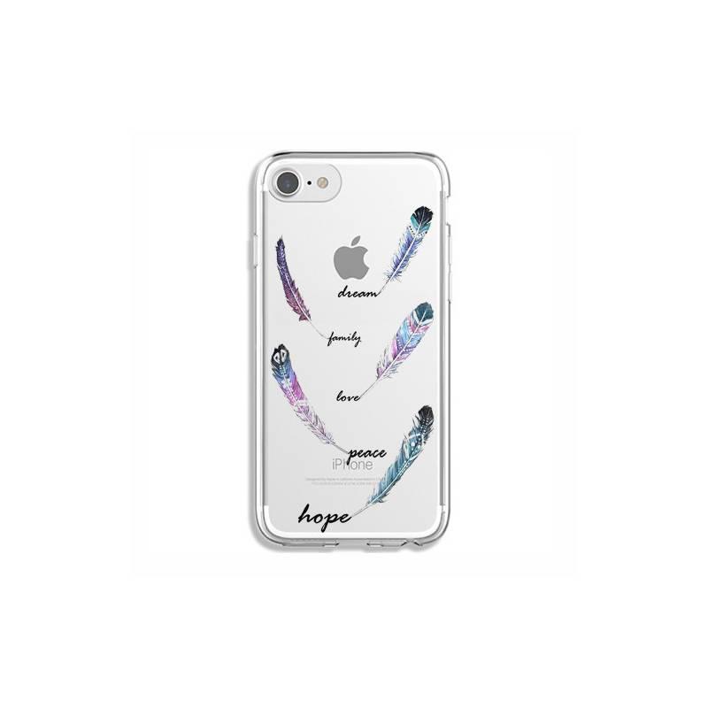 Coque transparente Iphone 7 / 8 feminine plume couleur