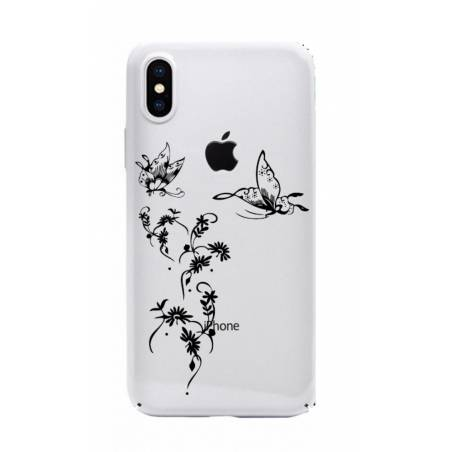 Coque transparente Iphone X feminine envol fleur