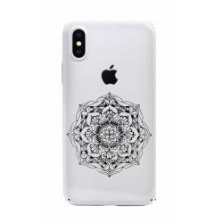 Coque transparente Iphone X mandala noir