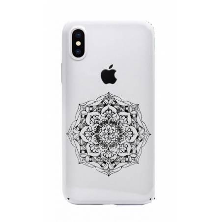 Coque transparente Iphone X mandala noir