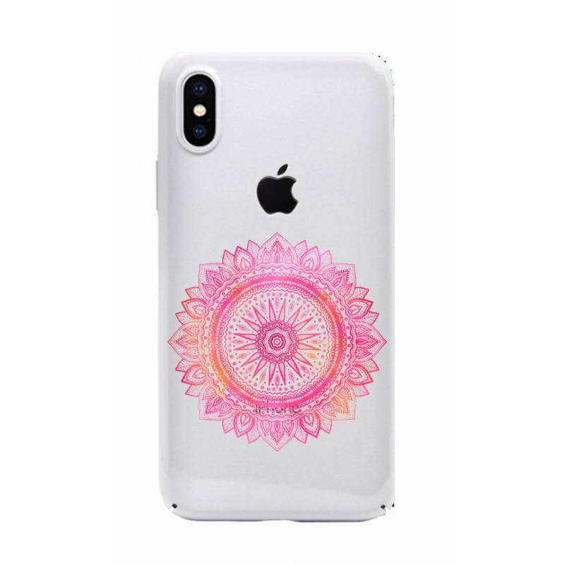 Coque transparente Iphone X mandala rose