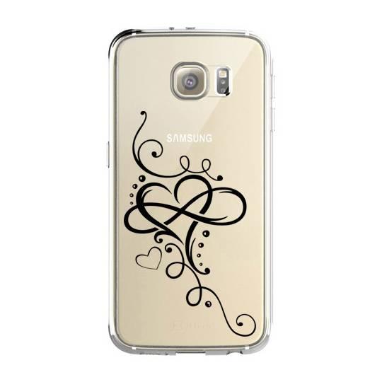 Coque transparente Samsung Galaxy S8 Plus + feminine cœur infini