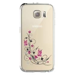 Coque transparente Samsung Galaxy S8 Plus + feminine fleur papillon