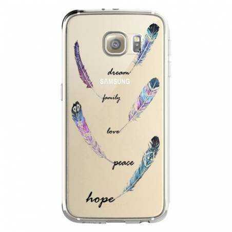 Coque transparente Samsung Galaxy S8 Plus + feminine plume couleur