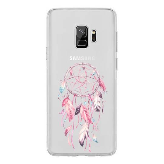 Coque transparente pour Samsung Galaxy S9 feminine attrape reve rose