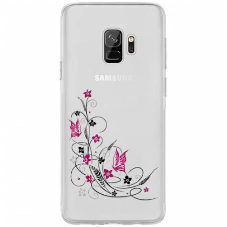 Coque transparente Samsung Galaxy S9 feminine fleur papillon